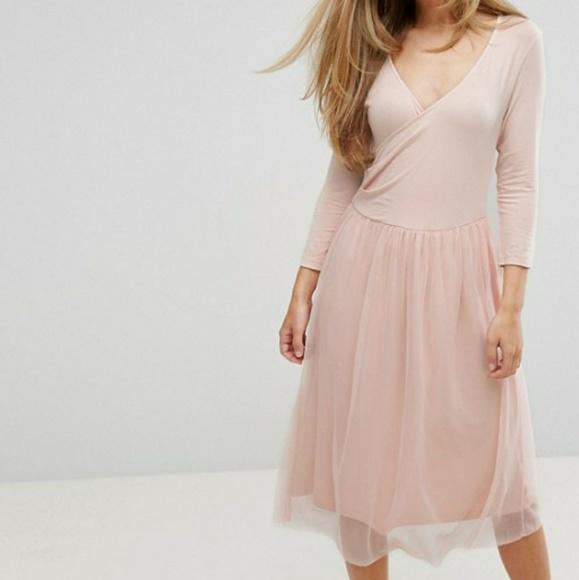 6be4dd1fd Vero Moda Dresses | Wrap Tulle Skirt Dress Ballet Peach 34 | Poshmark